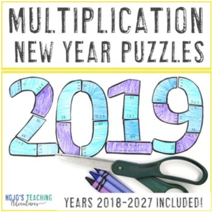 MULTIPLICATION New Years Puzzles (2018-2027 Included!)