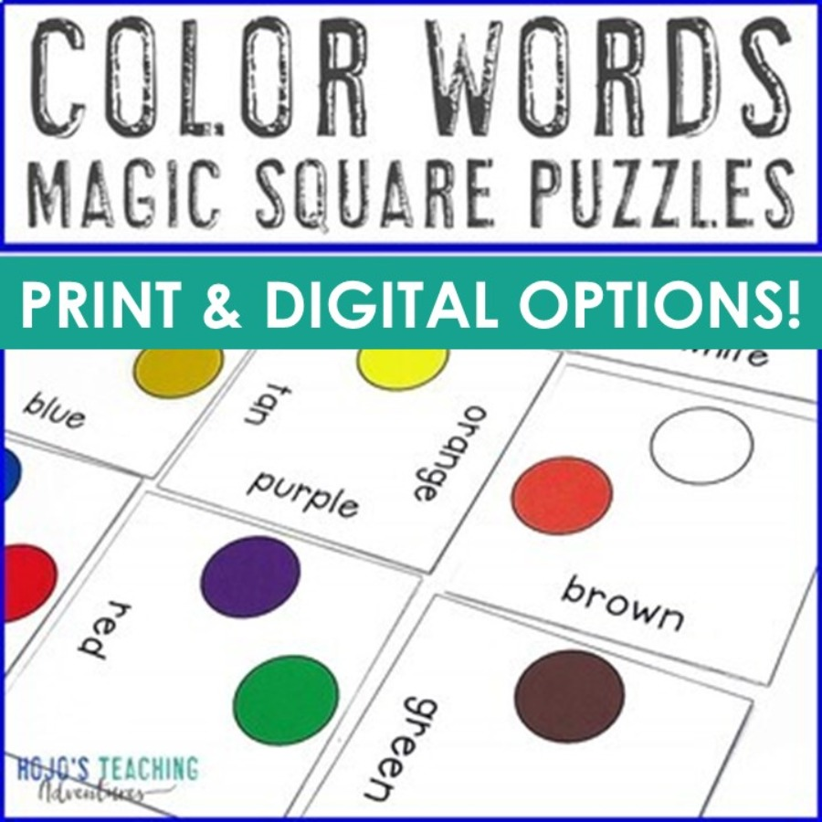 Color Words Magic Square Puzzles - Digital AND Print Options