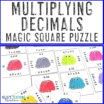 Multiplying Decimals Magic Square Puzzles