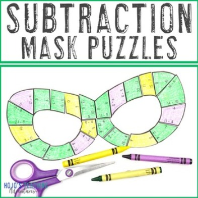 SUBTRACTION Mask Puzzles for 1st, 2nd, or 3rd Grade