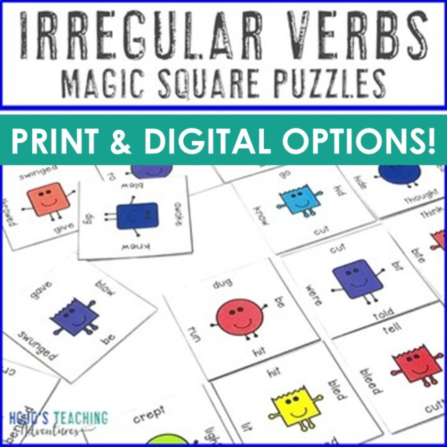Irregular Verbs Magic Square Puzzles - Print AND Digital Options