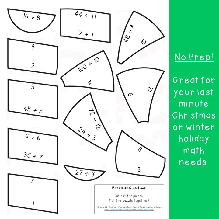 DIVISION Candy Cane Puzzles for 3rd, 4th, or 5th Grade