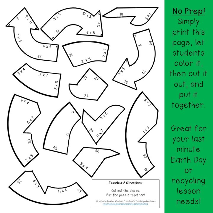 MULTIPLICATION Recycling Puzzles for 3rd, 4th, or 5th Grade