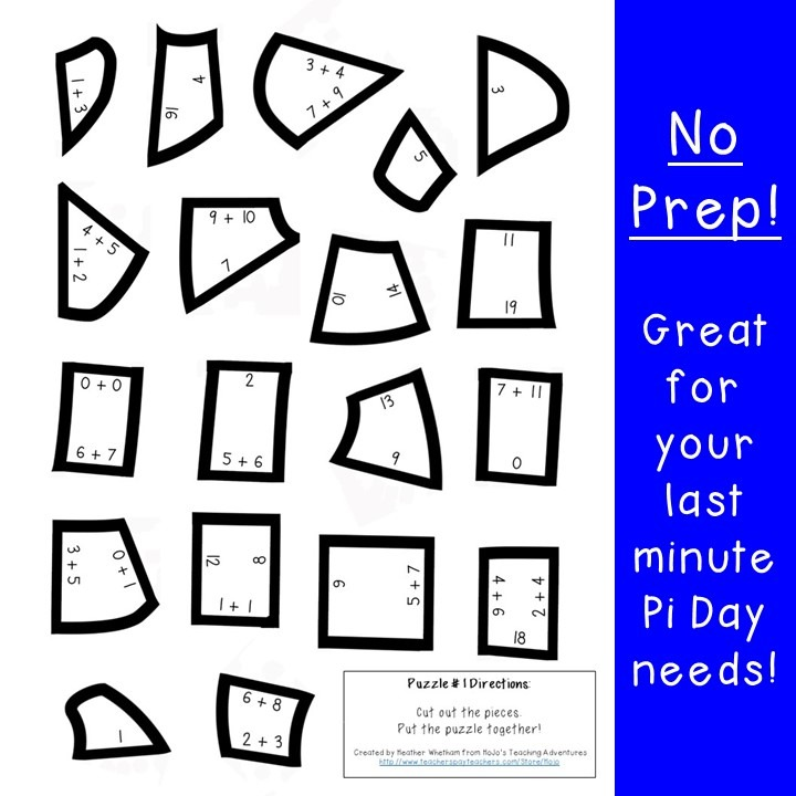 ADDITION Pi Day Puzzles for 1st, 2nd, or 3rd Grade