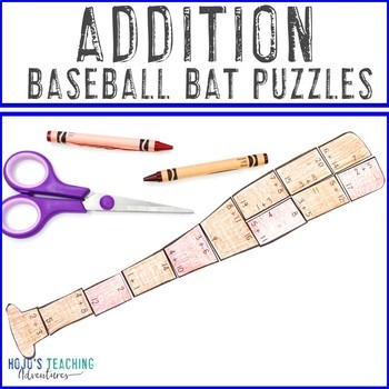 Addition Baseball Bat Puzzles for 1st, 2nd, or 3rd Grade