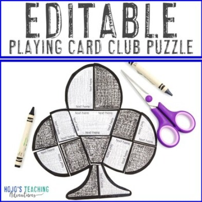 EDITABLE Playing Card Club Puzzle