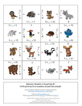 Unknown Numbers in Equations Multiplication Magic Square Puzzles