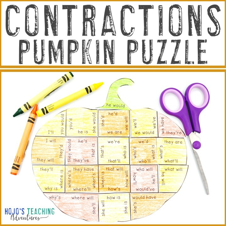 CONTRACTIONS Pumpkin Puzzle for 2nd, 3rd, or 4th Grade