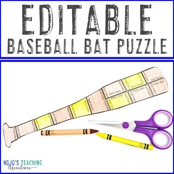 EDITABLE Baseball Bat Puzzle