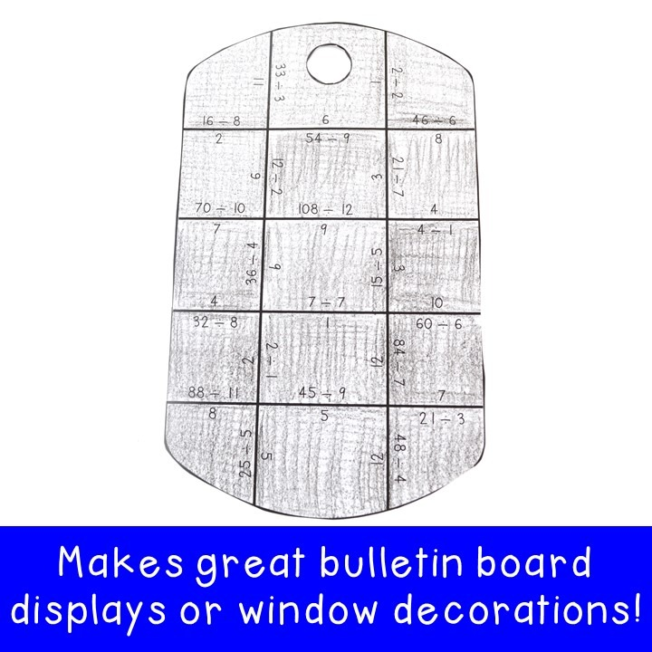 DIVISION Dog Tag Puzzles for 3rd, 4th, or 5th Grade Kids