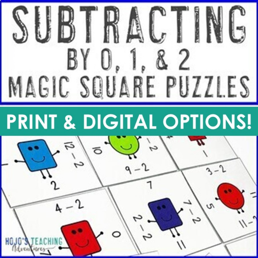 Subtracting by 0, 1, & 2 Magic Square Puzzles - Digital and PDF Options!