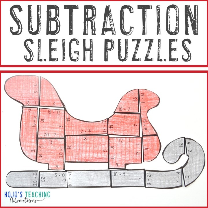 SUBTRACTION Sleigh Puzzles for 1st, 2nd, or 3rd Grade