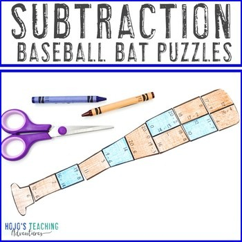 Subtraction Baseball Bat Puzzles for 1st, 2nd, or 3rd Grade