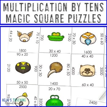 Multiplication by Tens Magic Square Puzzles