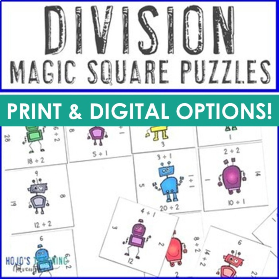 Division Magic Square Puzzles - Print AND Digital Options