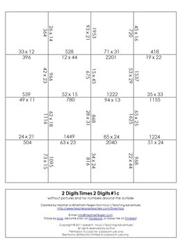 2x2 Digit Multiplication Magic Square Puzzles - Paper & Digital Options