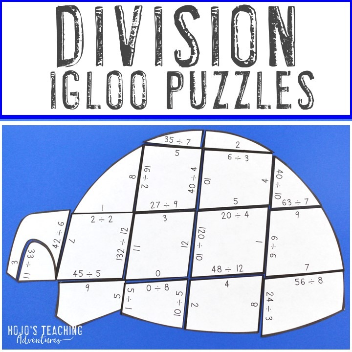 DIVISION Igloo Puzzles for 3rd, 4th, or 5th Grade