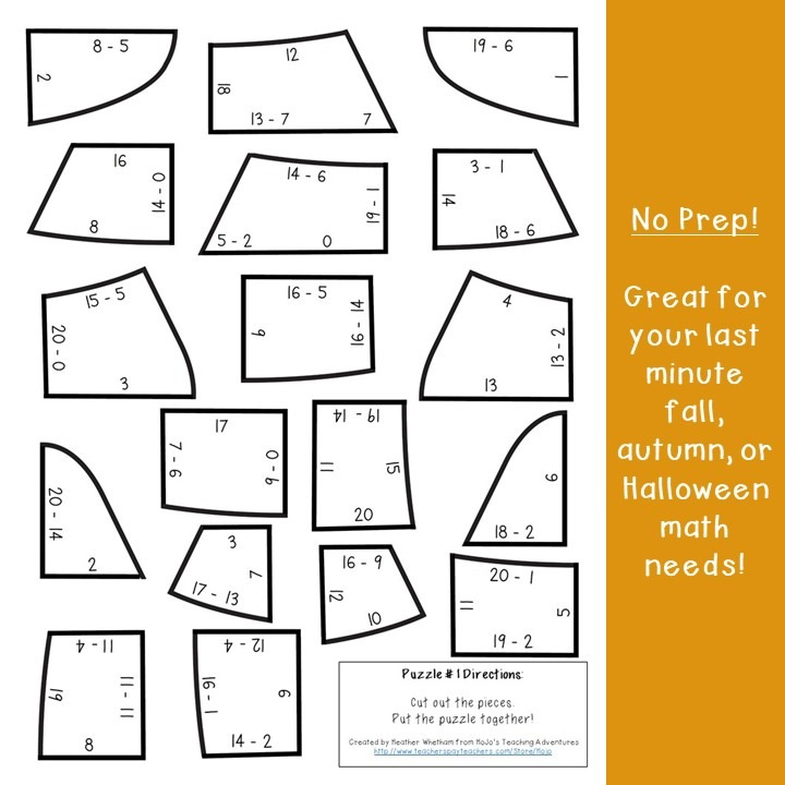 SUBTRACTION Candy Corn Puzzles for 1st, 2nd, or 3rd Grade