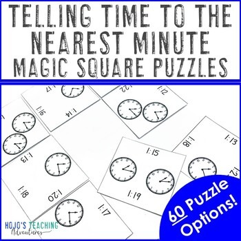 Telling Time to the Nearest Minute Magic Square Puzzles