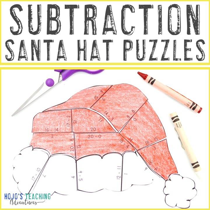 SUBTRACTION Santa Hat Puzzles for 1st, 2nd, or 3rd Grade