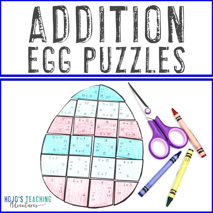 ADDITION Egg Puzzles for 1st, 2nd, or 3rd grade