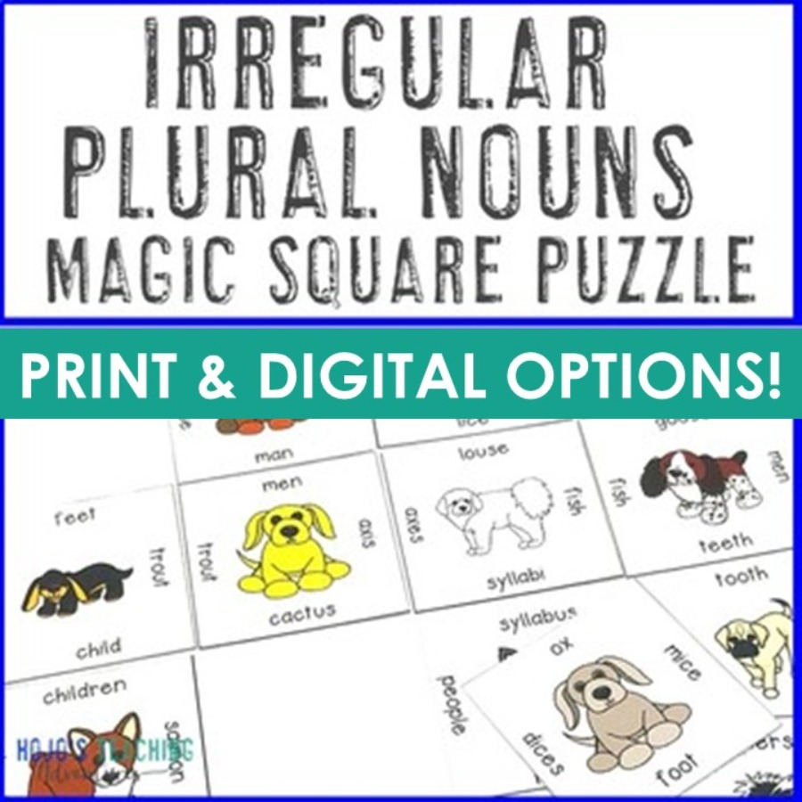 Irregular Plural Nouns Magic Square Puzzle