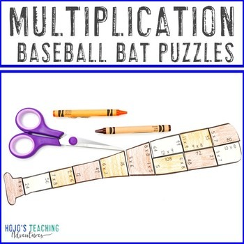 Multiplication Baseball Bat Puzzles for 3rd, 4th, or 5th Grade