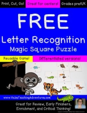 FREE Letter Recognition Magic Square Puzzle
