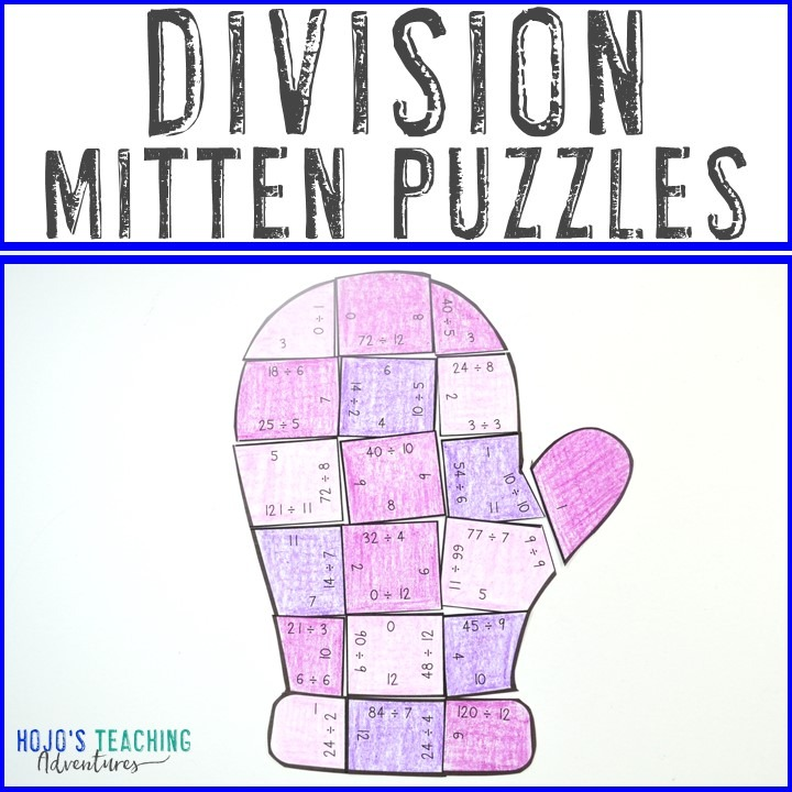 DIVISION Mitten Puzzles for 3rd, 4th, or 5th Grade