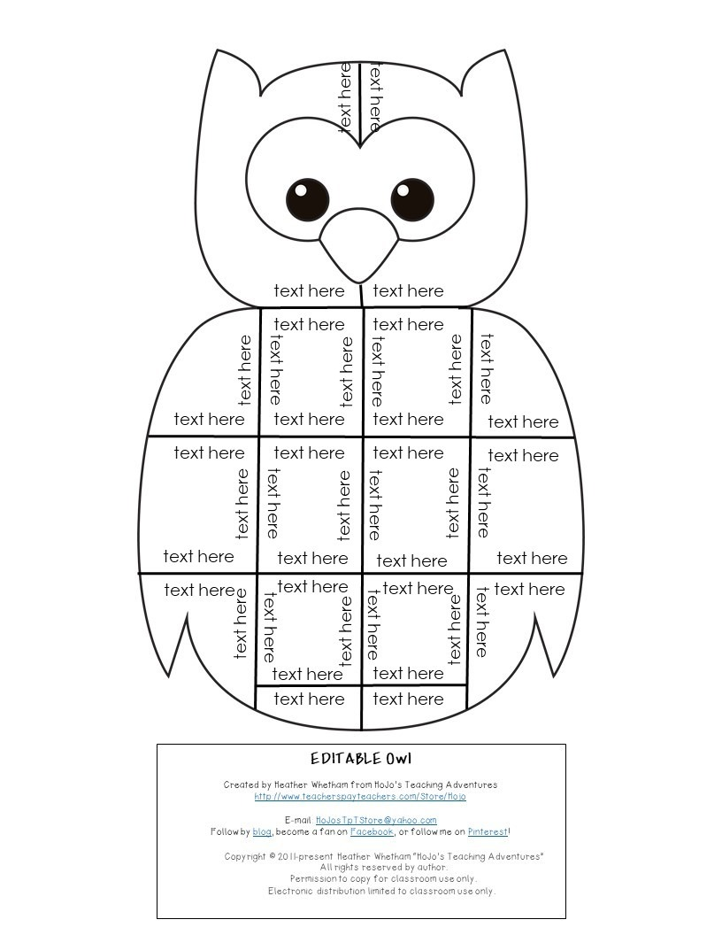 EDITABLE Owl Puzzle for Elementary or Middle School Kids