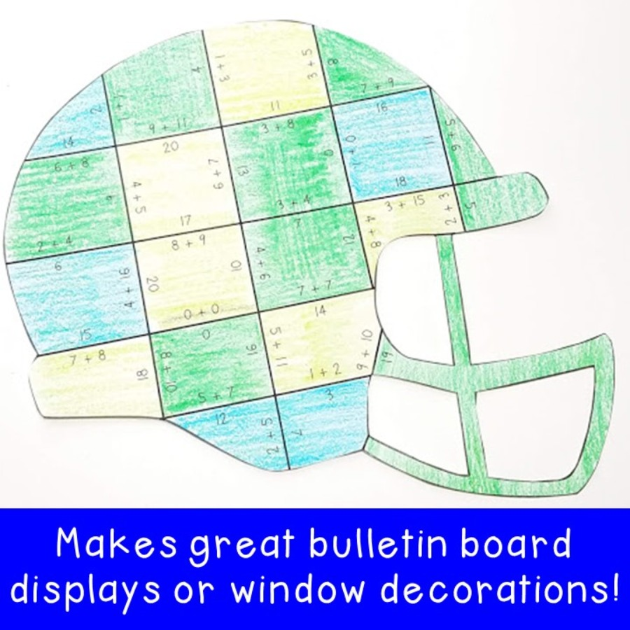 ADDITION Football Helmet Puzzles for 1st, 2nd, or 3rd Grade