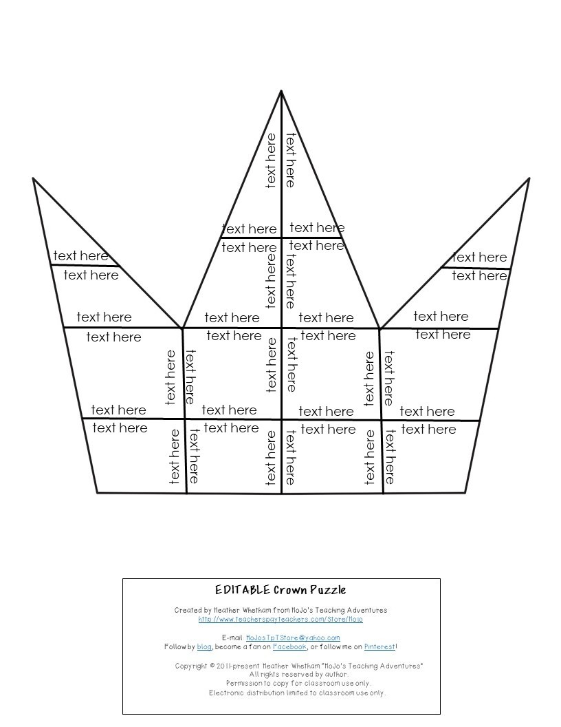EDITABLE Crown Puzzle for Elementary or Middle School