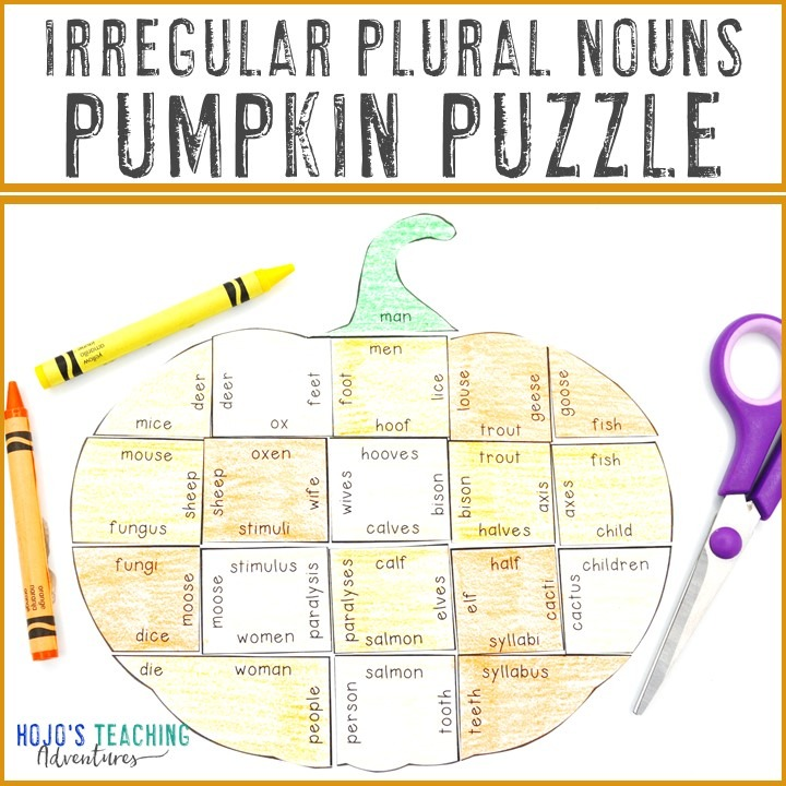 IRREGULAR Plural Nouns Pumpkin Puzzle for 2nd, 3rd, 4th, or 5th Grade