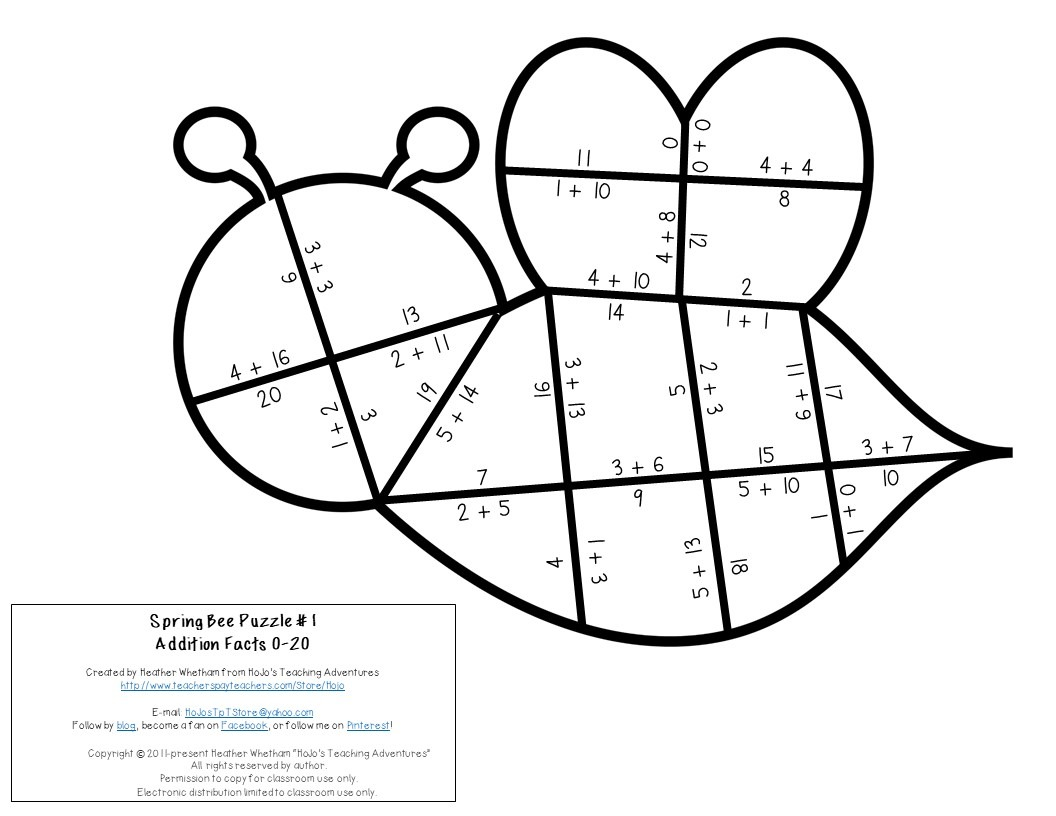 ADDITION Bee Puzzles for 1st, 2nd, or 3rd Grade
