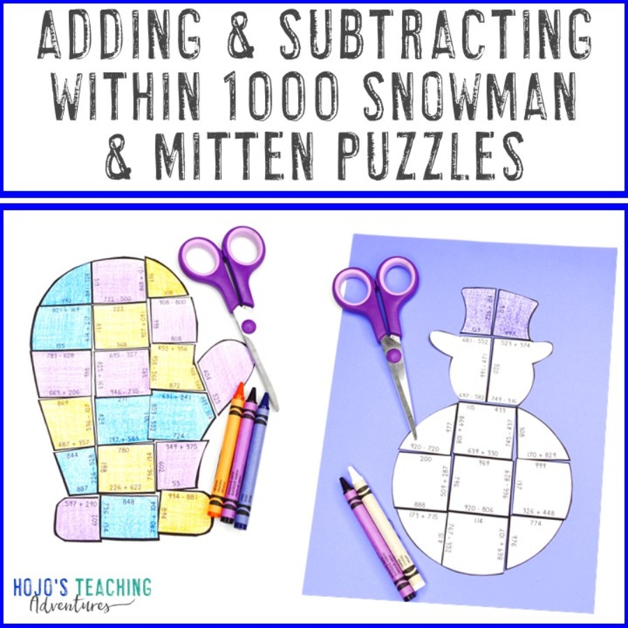 Adding and Subtracting within 1000 Snowman and Mitten Puzzles