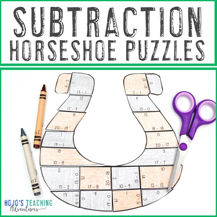 SUBTRACTION Horseshoe Puzzles for 1st, 2nd, or 3rd Grade