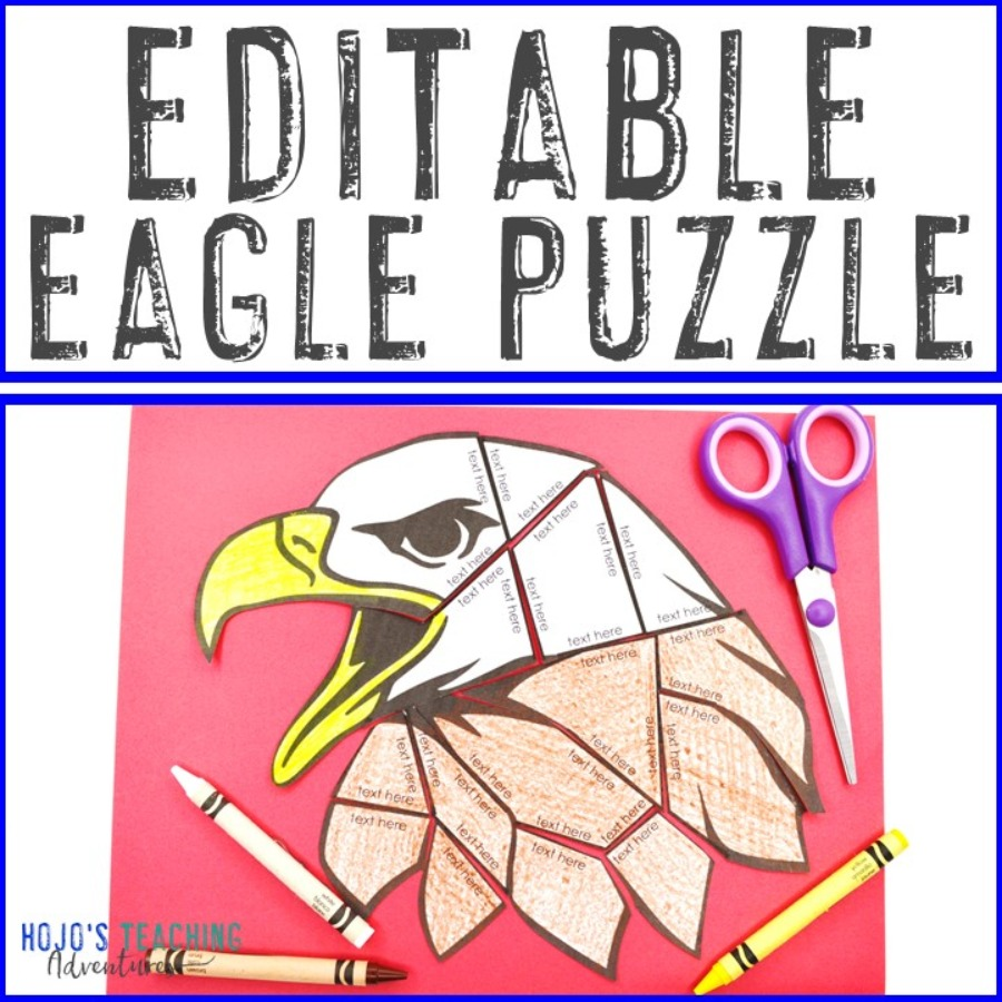 EDITABLE Bald Eagle Puzzle for Elementary or Middle School