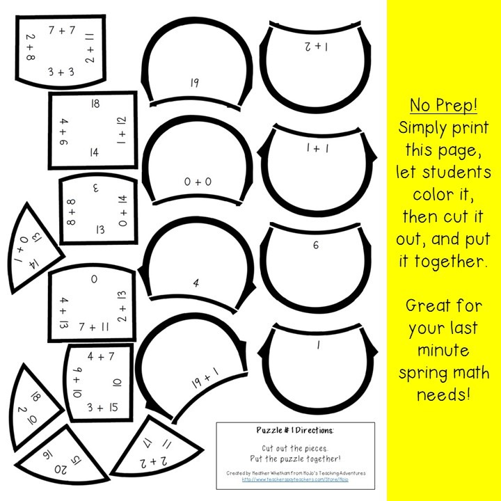 ADDITION Flower Puzzles for 1st, 2nd, or 3rd Grade