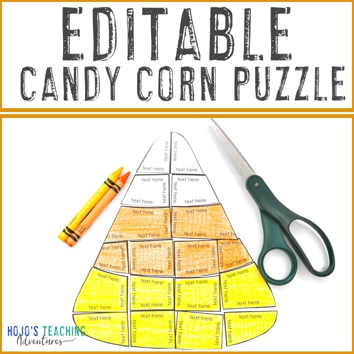 EDITABLE Candy Corn Puzzles for Elementary or Middle School Kids
