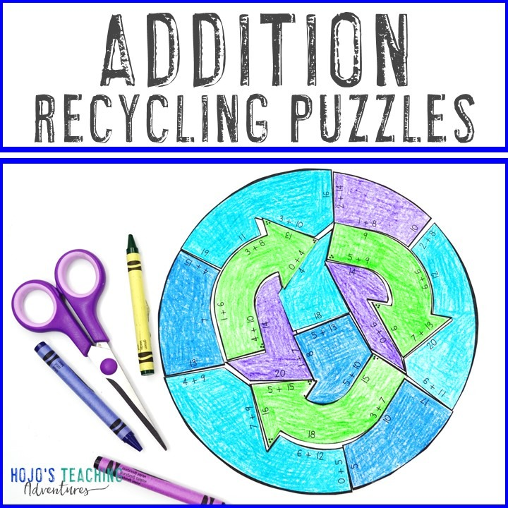 ADDITION Recycling Puzzles for Elementary Kids
