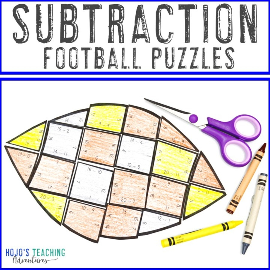 SUBTRACTION Football Puzzles for 1st, 2nd, or 3rd Grade