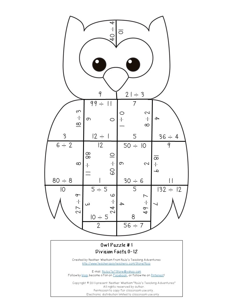 DIVISION Owl Puzzles for 3rd, 4th, or 5th Grade