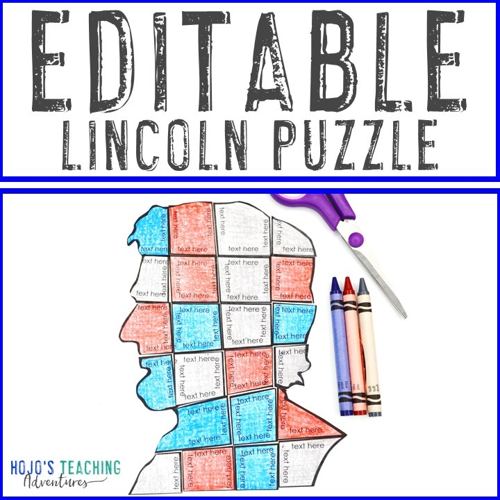 EDITABLE President Abraham Lincoln Puzzle
