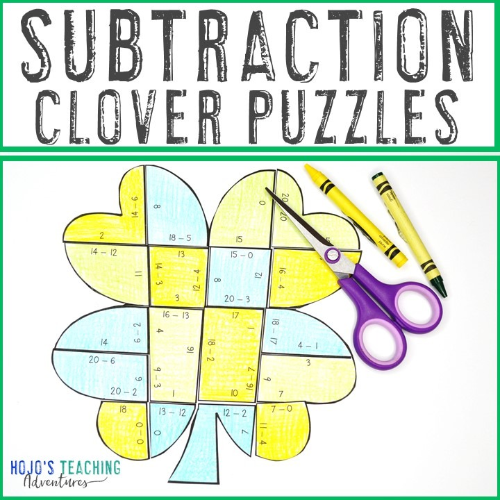 SUBTRACTION Clover Puzzles for 1st, 2nd, or 3rd Grade