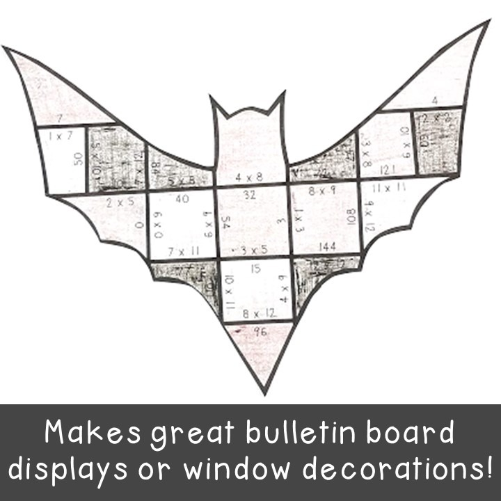 MULTIPLICATION Bat Puzzles for 3rd, 4th, and 5th Grade