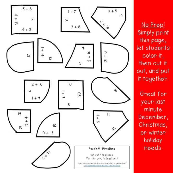 ADDITION Gingerbread Puzzles for 1st, 2nd, or 3rd Grade