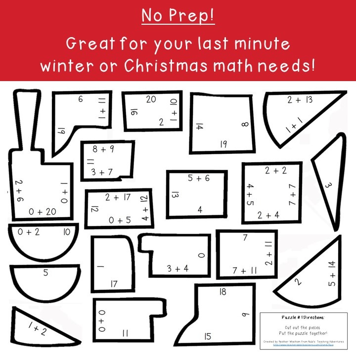ADDITION Train Puzzles for 1st, 2nd, or 3rd Grade