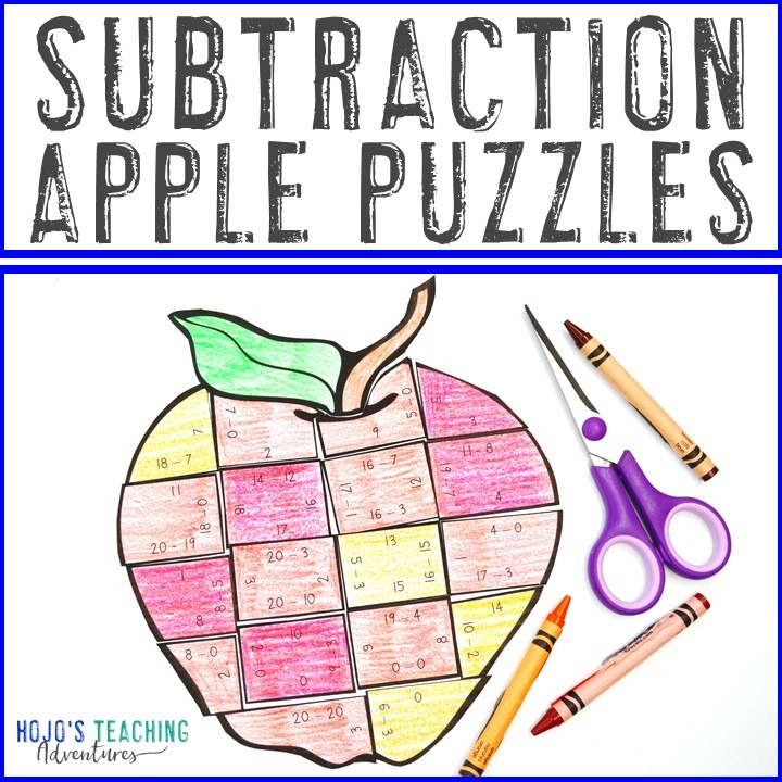 SUBTRACTION Apple Puzzles for 1st, 2nd, or 3rd Grade