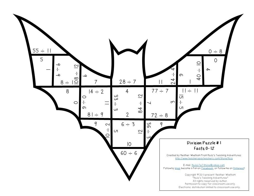 DIVISION Bat Puzzles for 3rd, 4th, or 5th Grade