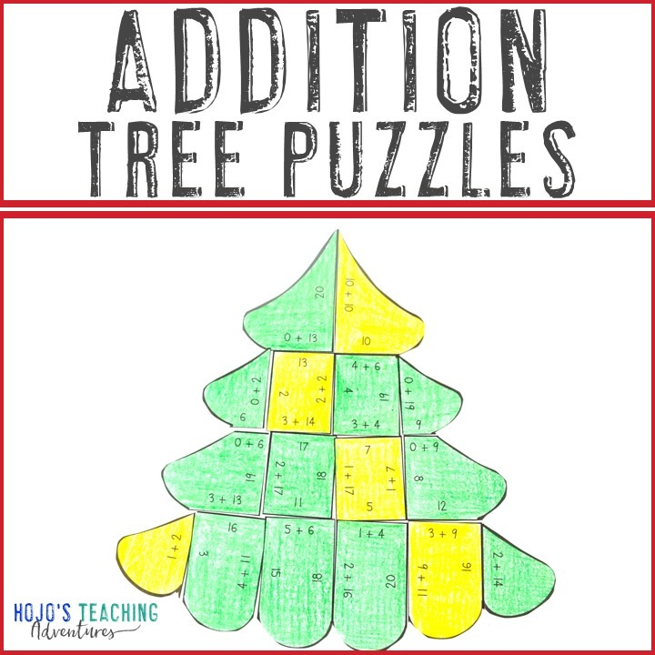 ADDITION Christmas Tree Puzzles for 1st, 2nd, or 3rd Grade